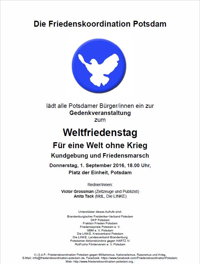 01.09.2016 Weltfriedenstag in Potsdam
