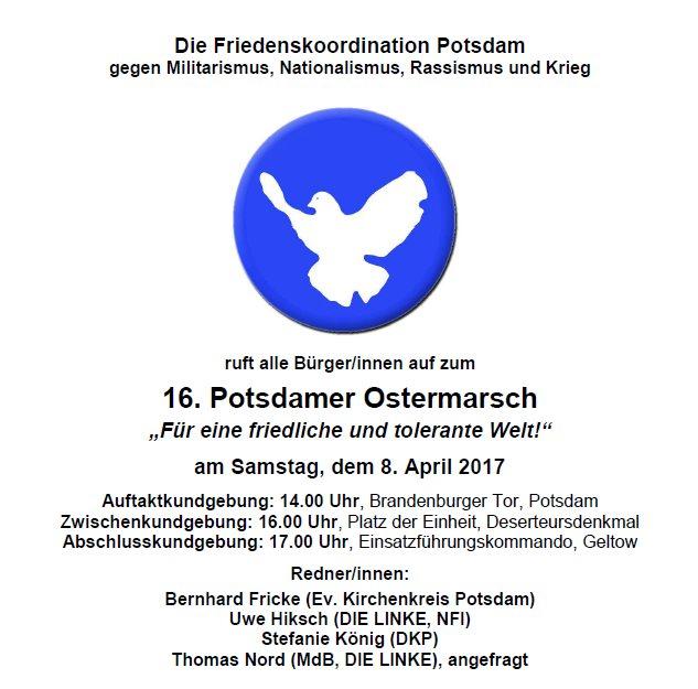 Friedenskoordination Potsdam - Aufruf zum 16. Potsdamer Ostermarsch
