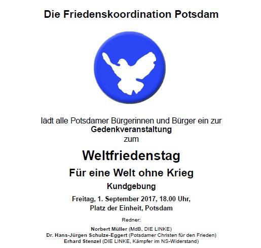 Aufruf zum Weltfriedenstag 2017