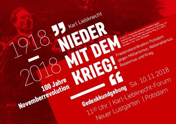 Gedenkkundgebung am 10.11.2018 in Potsdam - 100 Jahre Novemberrevolution - Nieder mit dem Krieg
