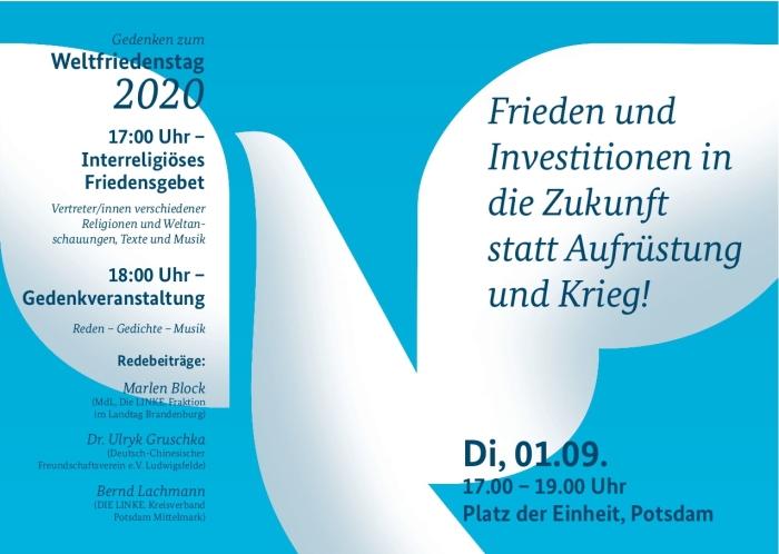 Gedenken zum Weltfriedenstag 2020